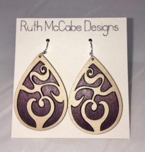 Earring Style #1 Maple Outer/Baltic Birch Purple Inner
