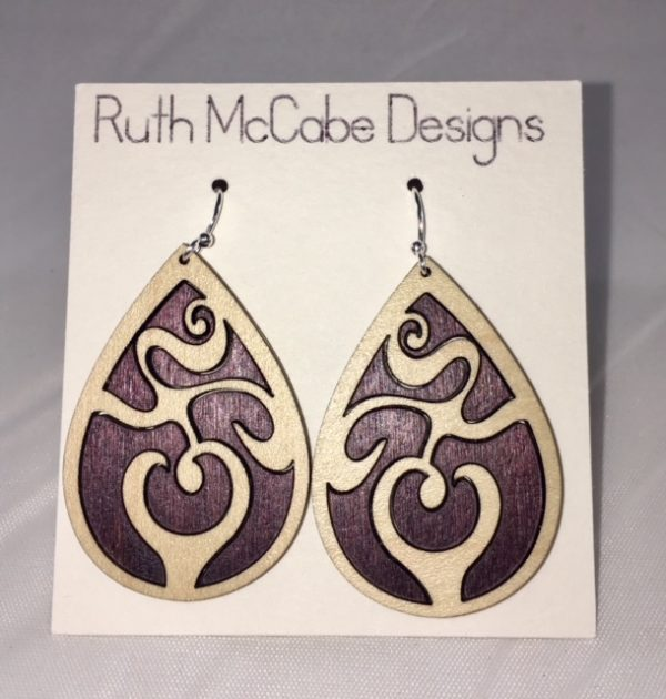 Earring Style #1 Maple Outer/Baltic Birch Purple Inner