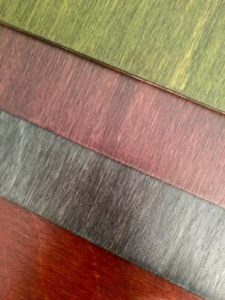 Baltic Birch in Burnt Orange, Blue Jean, Purple, Rustic Green - Bottom to Top